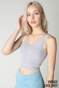 Grey Vintage V Neck Crop Top