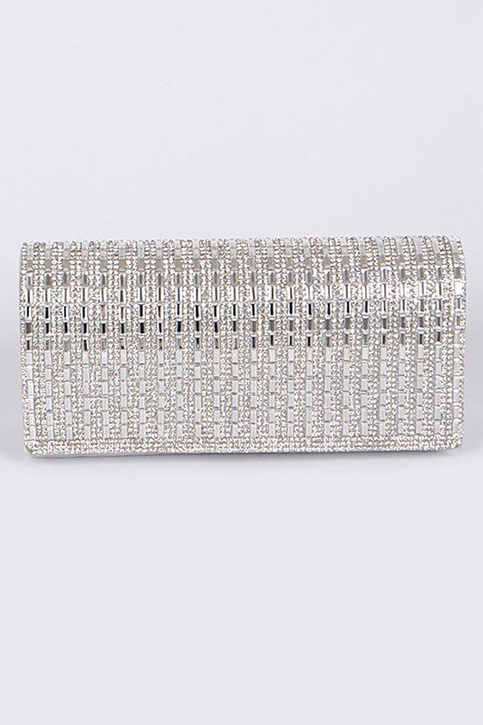 Straight Rectangle Silver Clutch Bag