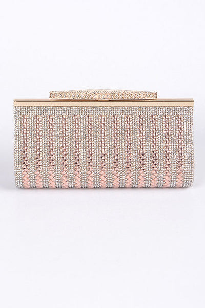 Straight Pattern Rose Diamond Clutch Bag