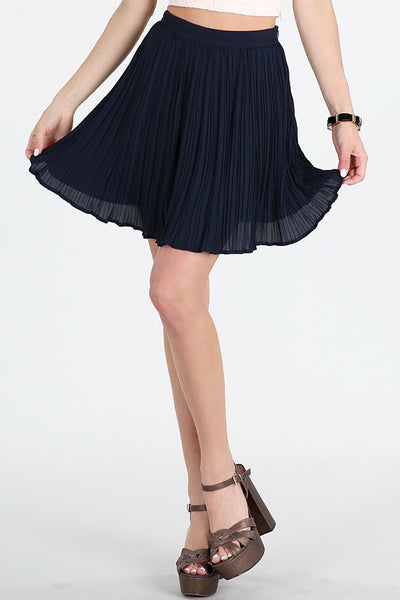 Navy Pleated Mini Skirt