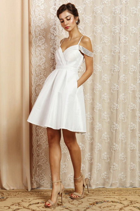 Shimmering Drop Shoulder Fit And Flare Short Dress