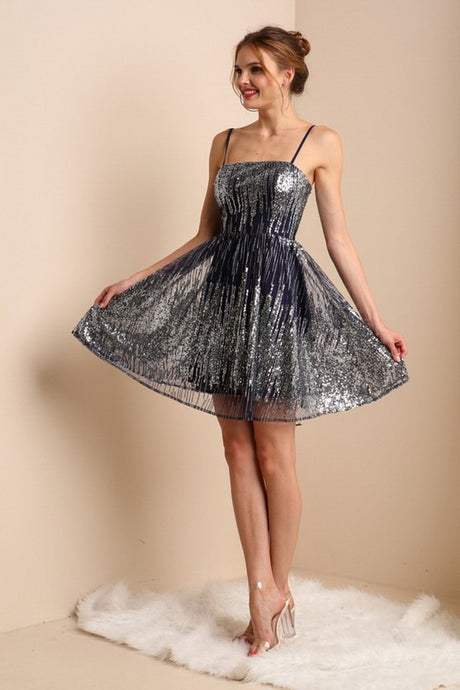 Navy Mini Sequin Cocktail Dress
