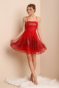 Red Mini Sequin Cocktail Dress