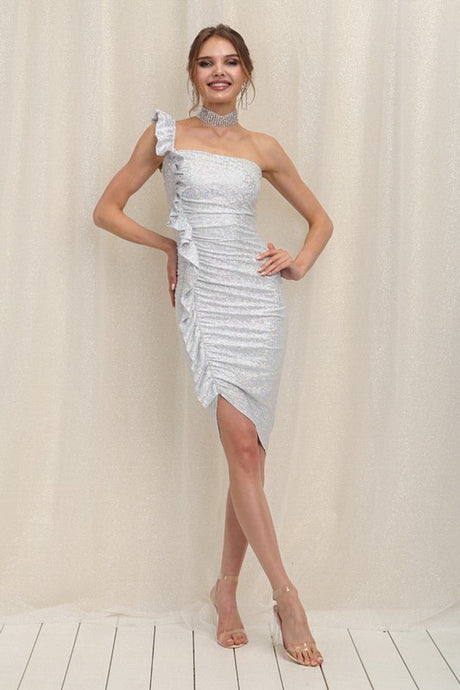 Silver Ruffle One Shoulder Fitted Midi Dress