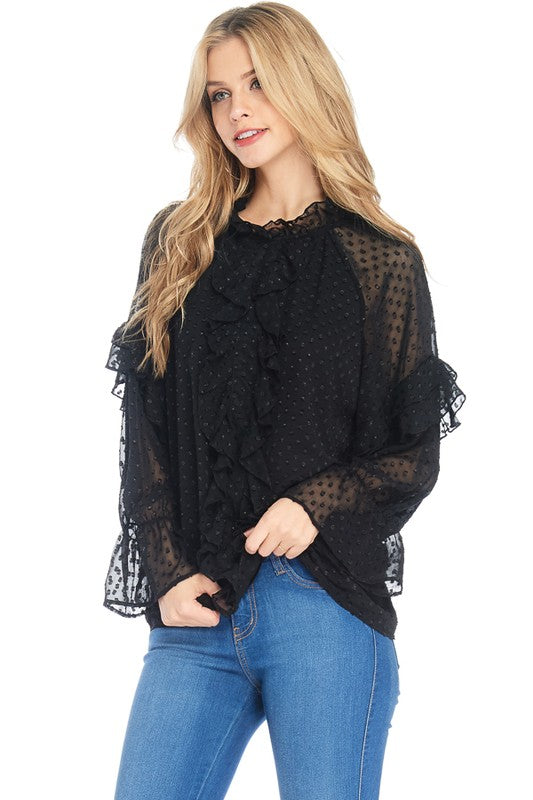 Ruffled Puffy Bell-Shaped Sleeves Top
