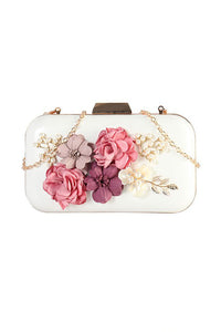Designer Flower Accent Evening Clutch Bag