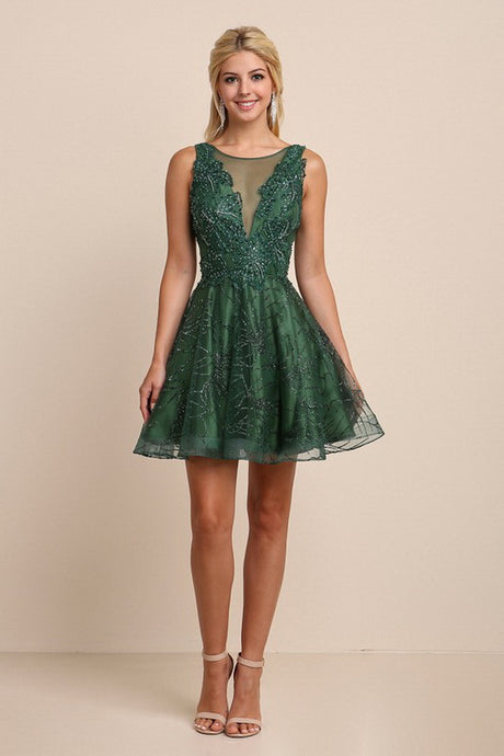 Forest Green Embroidery Beaded Mini Flare Dress