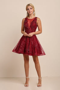 Red Wine Embroidery Beaded Mini Flare Dress
