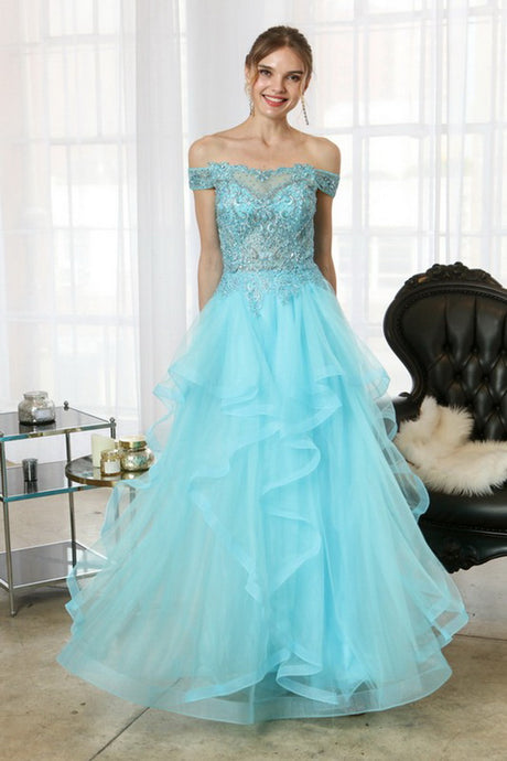 Aqua Beaded Lace Top And Ruffle Asymmetric Skirt Two Pieces Set Long Dress