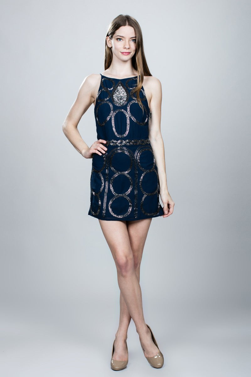 Navy Beaded Round Pattern Short Dress
