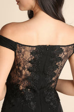 Black Lace Upper And Back Off Shoulder Lower Ruffle Long Dress