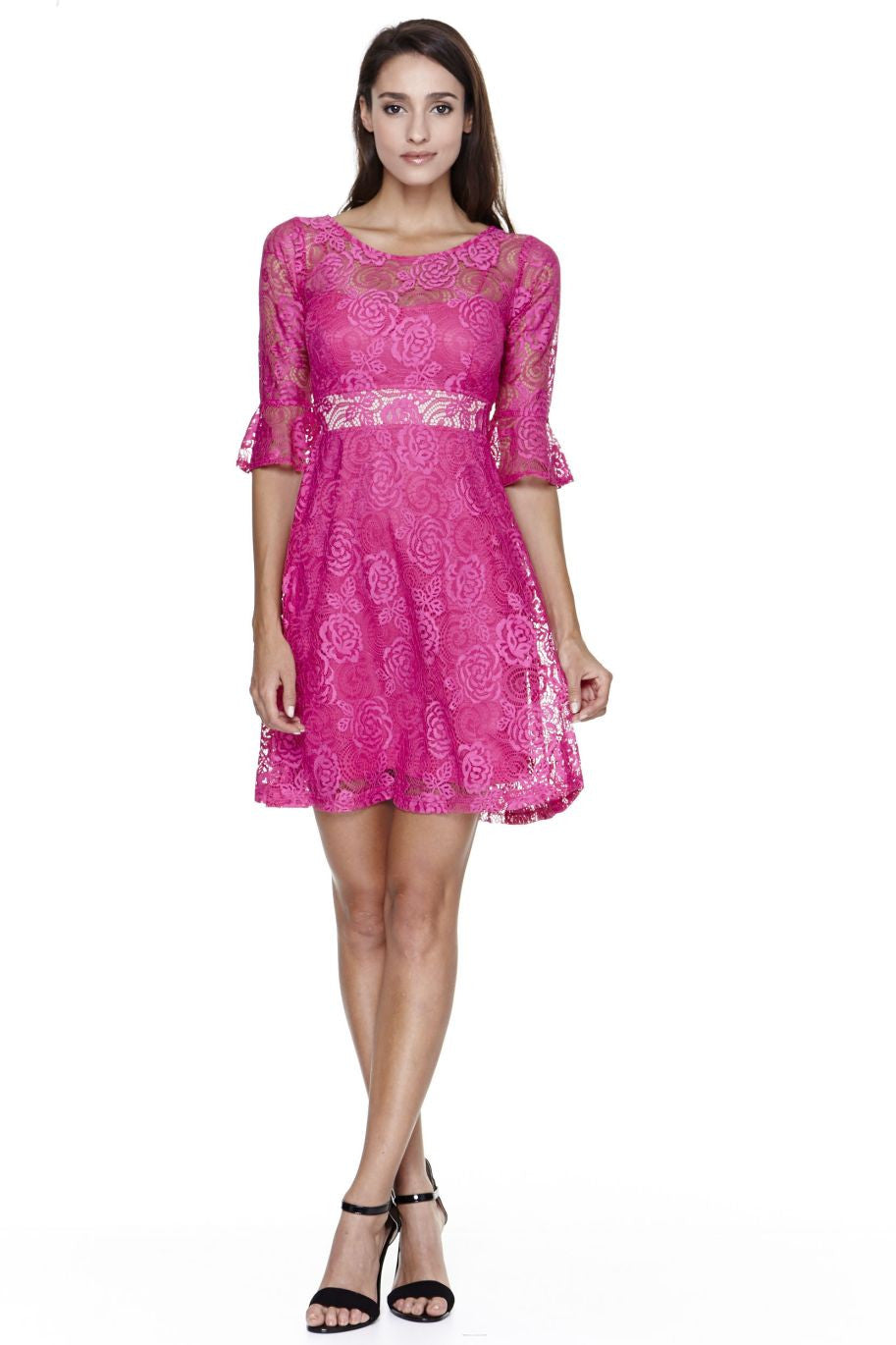 Flare Short Sleeve Roses Lace Summer Dress