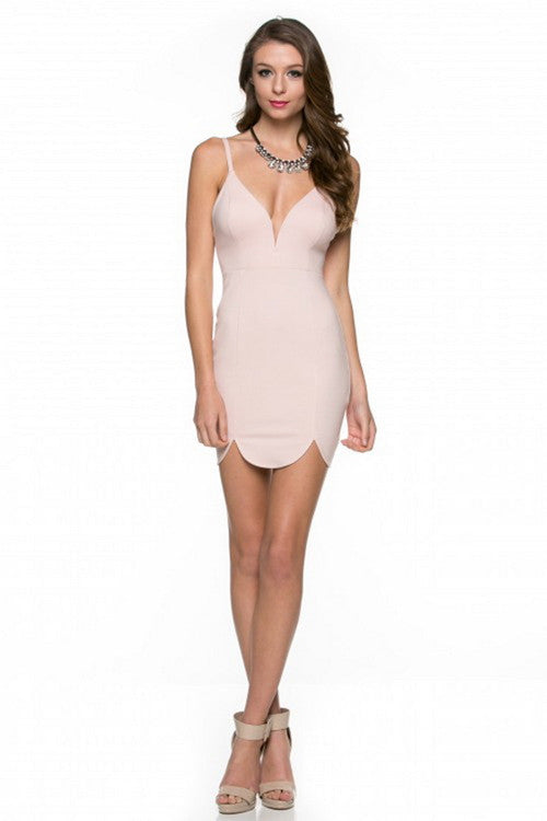 Dusty Rose Scallop Hem Ponti Dress