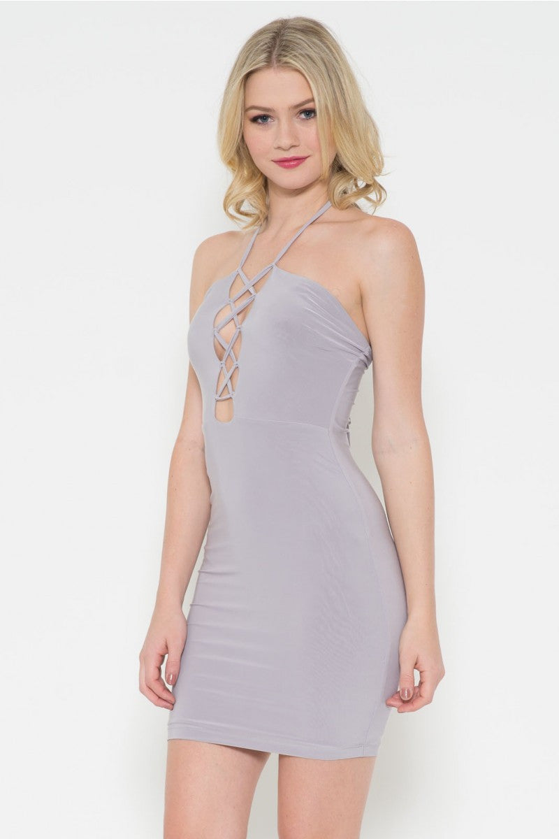 Criss-Cross Halter Dress