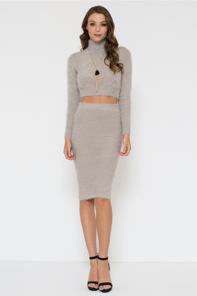 Fuzzy Mock Neck Sweater And Pencil Skirt Set