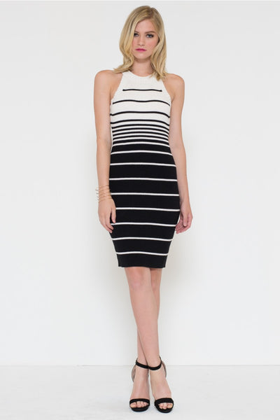 Stripe Fitted Sweater Dress