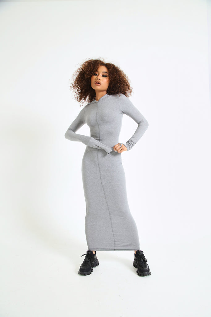 Matte Frame Hooded Dress In Grey