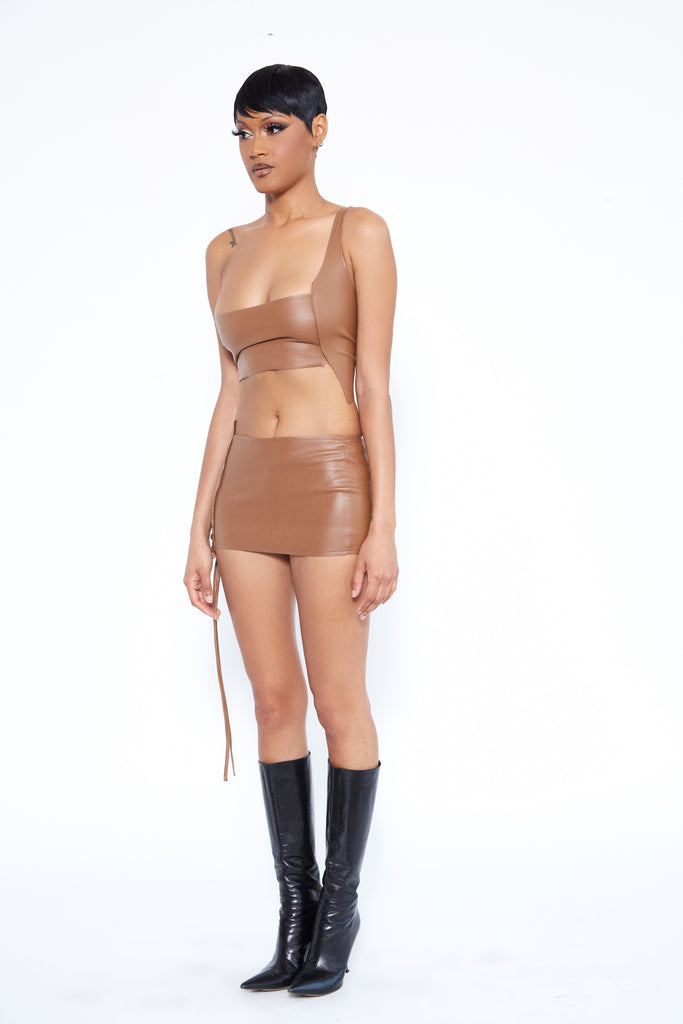 XSCAPE LEATHER CORSET IN BROWN