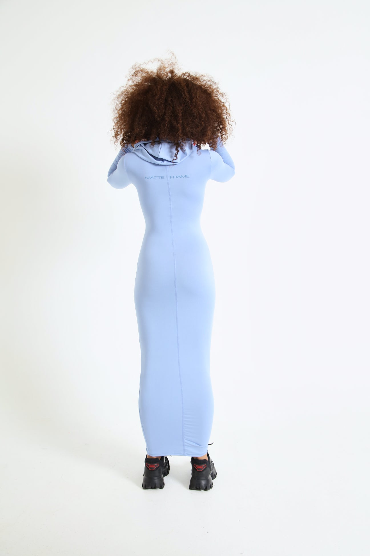Matte Frame Hooded Dress In Denim Blue