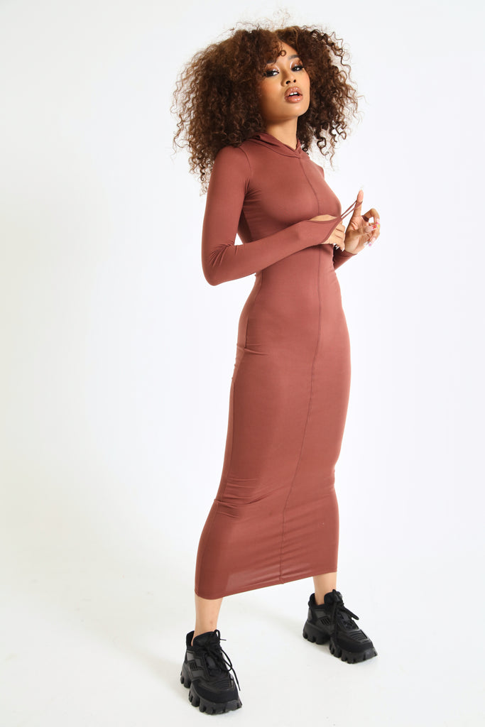 Matte Frame Hooded Dress In Chocolate
