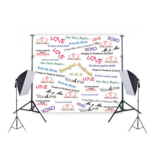 Custom Printed Backdrop Screen With 50 x 70 Economy Softbox Studio Lighting