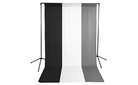 Premium Black, White & Gray Backdrop with Stand ( 3 Backdrop Kit)