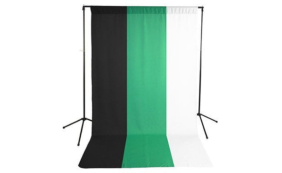 Premium Black, White & Green Backdrop with Stand ( 3 Backdrop Kit)