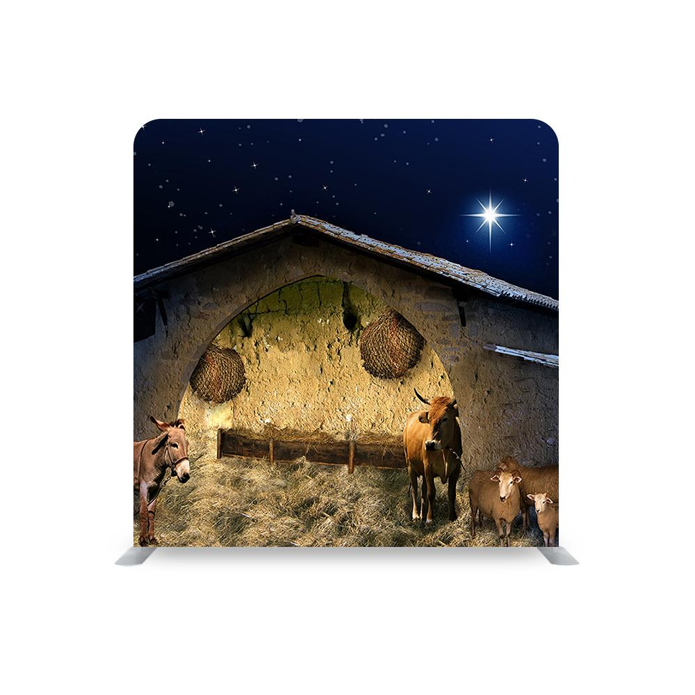 Christmas Stable STRAIGHT TENSION FABRIC MEDIA WALL