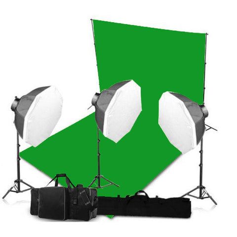 3 Head Powerful 5 Lamp Video Lighting Kit Equipment With Chromakey Backdrop And Support System