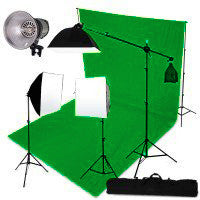 3 Head 3000W Quartz Video Light Kit Equipment With Chromakey Backdrop And Support System