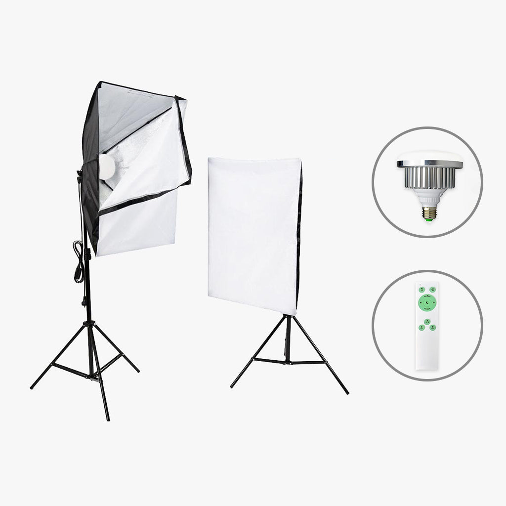 2 Head Continuous Softbox Bi-Coloured LED  Home Studio Kit