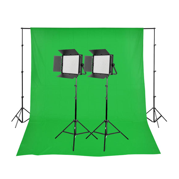 2 Head 2000W Bi-Colour Powerful LED Video Light Kit with DMX Output with Chroma Green Backdrop & Stand