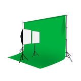 2 Head Video Softbox Quartz Light Kit (2000W) with Chromakey Backdrop & Stand