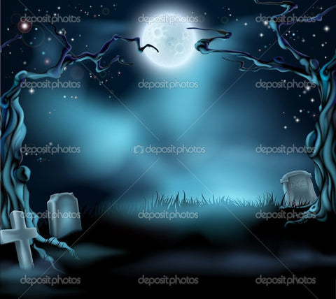 Dark Night Graveyard Halloween  Backdrop