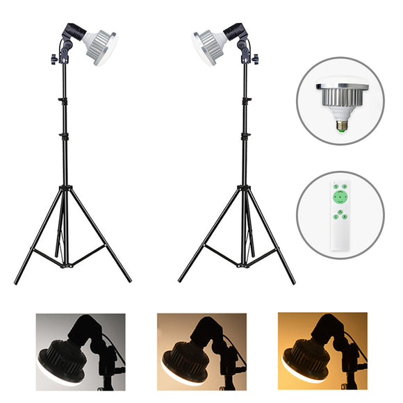 2 Head Contionous LED BiColor 750w Beginners Light Kit ( E27 Bulb Holder)