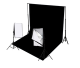2 Head Continuous Softbox Studio Lighting Kit Equipment With Backdrop And Support System 1