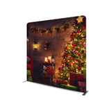 CHRISTMAS TREE WITH WOODEN BACKGROUND STRAIGHT TENSION FABRIC MEDIA WALL