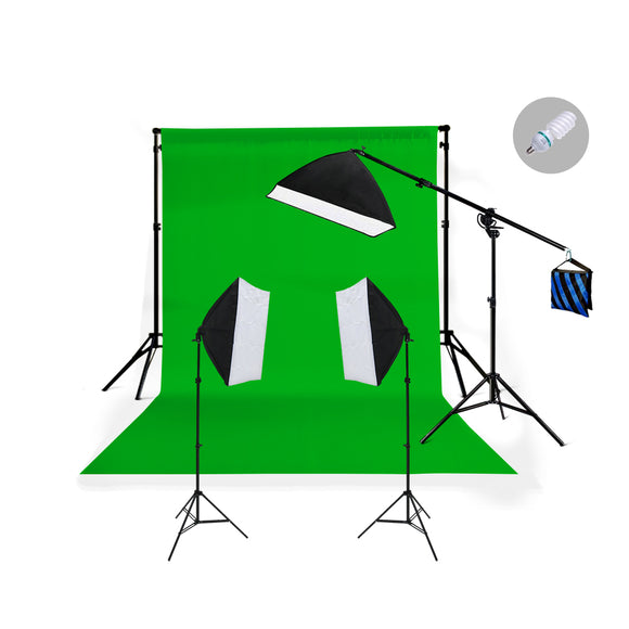 Three Head 750W Continuous Softbox Kit with Boom Arm
