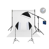 3 Head Continuous Softbox Studio Light Kit with Boom Arm