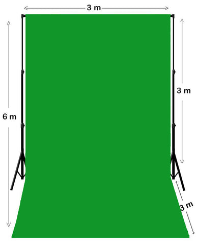 Chroma Key Green Screen Backdrop 3M X 6M With Stand