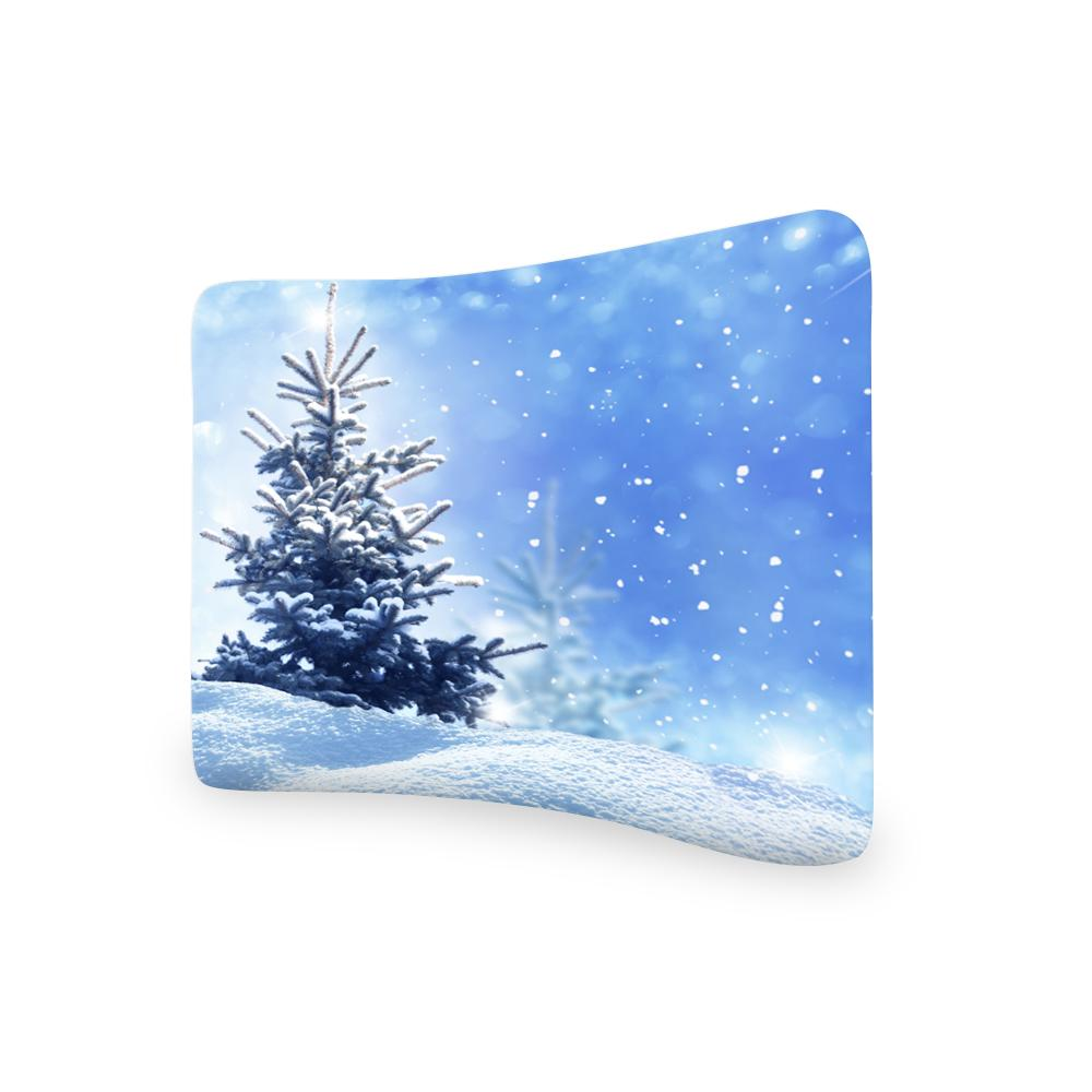 Frozen Tree Blue Glittering Sky CURVED TENSION FABRIC MEDIA WALL