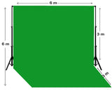 6m W x 6m H Chroma Key Green Photography Backdrop with Backdrop Stand