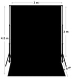 3M X 4.5M Black Photography Backdrop With Stand