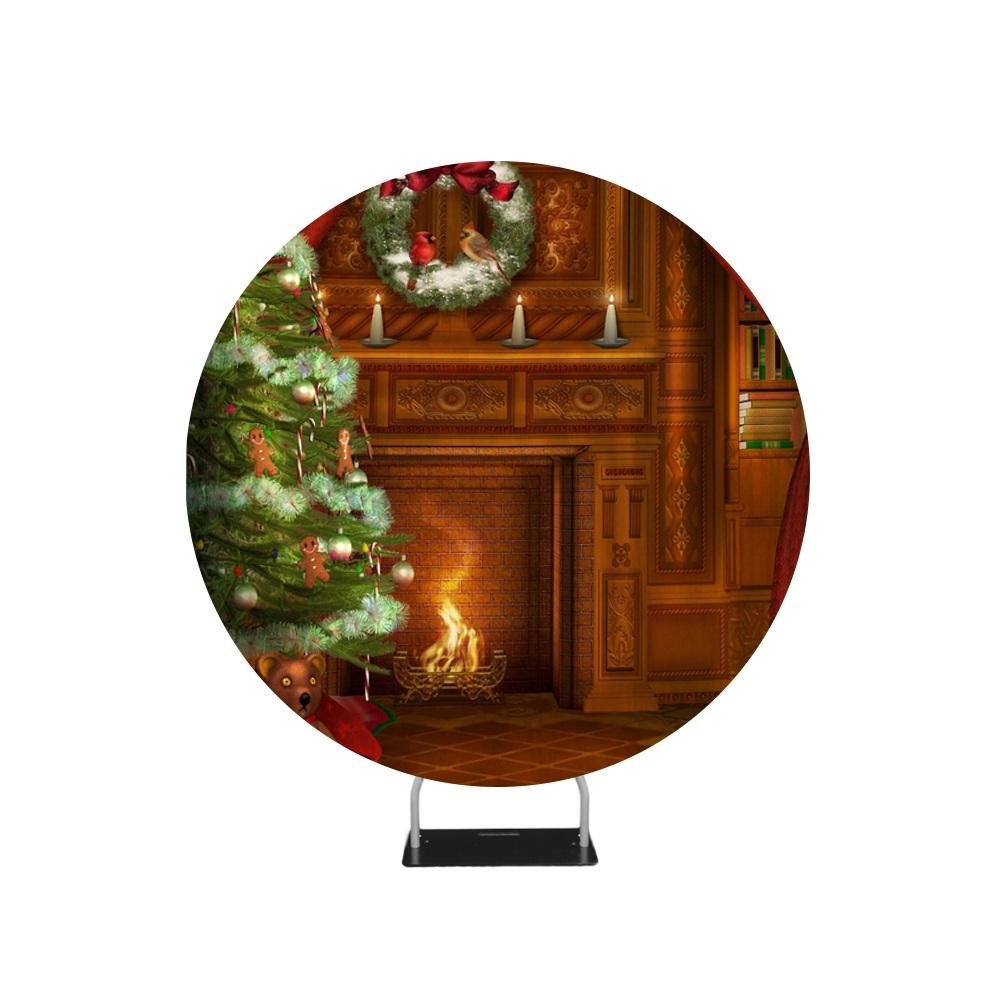 Chimney Christmas Photo Backdrop Circle backdrop stand