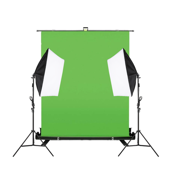 Chroma Key Retractable Panel With 2 Head 50 x 70cm Soft Box Kit