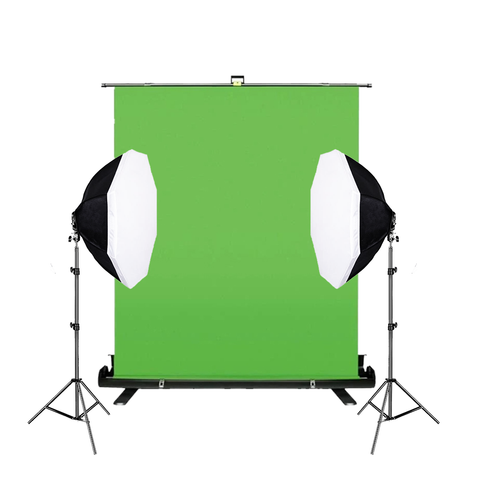 Chroma Key Retractable Panel With 5 Lamp Octagonal Soft Box Kit