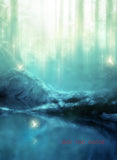 Cyan Fade Forest Angel Print Photography Backdrop