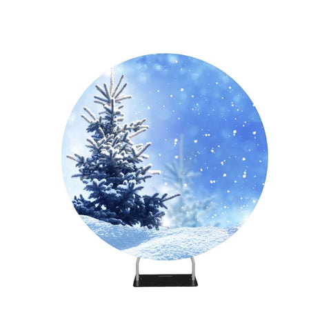 Frozen Tree Blue Glittering Sky Backdrop Circle backdrop stand
