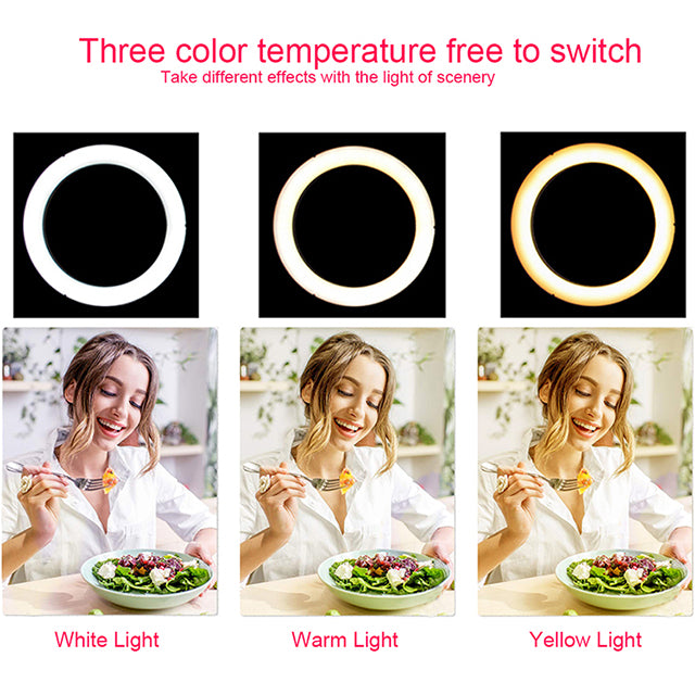 9 Inch 15W  Video Table Desktop Beauty Makeup LED Selfie Ring Light with Tripod