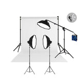 3 Head Powerful 5 Lamp Video Light Kit with Boom Arm